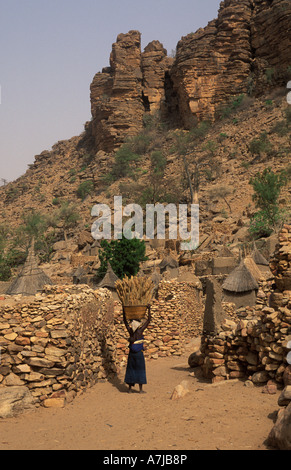 woman carrying millet in a cliff village, Tireli, Dogon Country, Mali - Stock Photo
