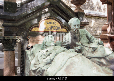 Charles Pigeon family tomb French Industrialist and Inventor on rue Thierry Montparnasse Cemetery Paris France - Stock Photo