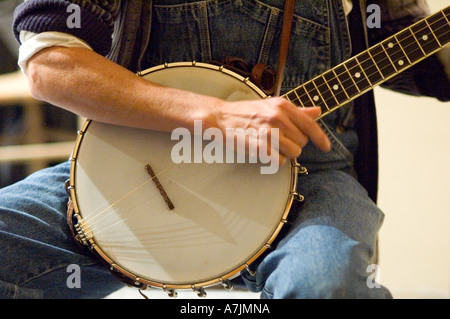 Close Up of a Banjo being played at Lee Schillings Old Time Pickin' Party, Cosby, East Tennessee - Stock Photo