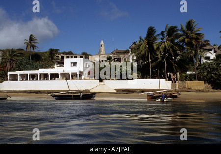 Peponi Hotel View from Boat with Fiday Mosque in Background Shela Lamu Kenia East Africa - Stock Photo