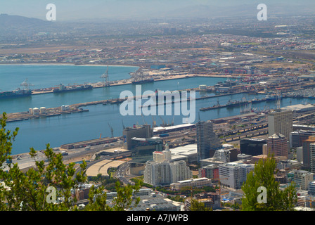 View of The City Bowl and Harbour Area Cape Town South Africa From Signal Hill - Stock Photo