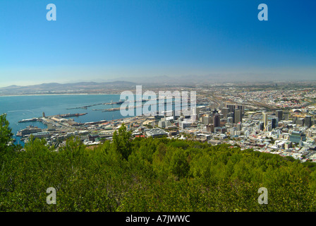 View of City of Cape Town and Docks from Signal Hill South Africa - Stock Photo