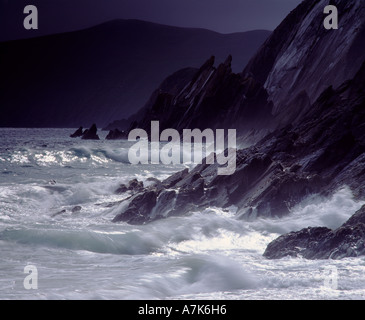 Dunmore Head, Dingle Peninsula, County Kerry, Ireland.  Storm waves and sunburst - Stock Photo