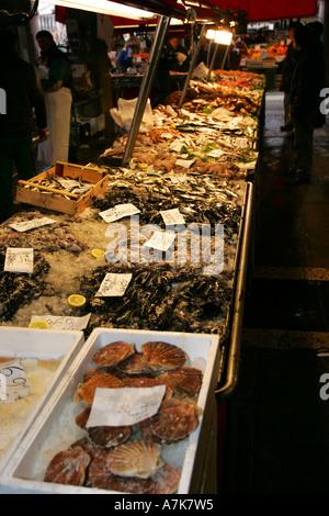 Fresh fish crabs shell fish on sale at this famous Venetian Prescaria fish market near Rialto Venice Italy Europe EU