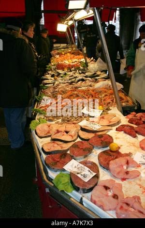 Fresh colourful healthy tuna fish steaks on sale at this famous Venice fish market Prescaria Venezia Italy Europe EU