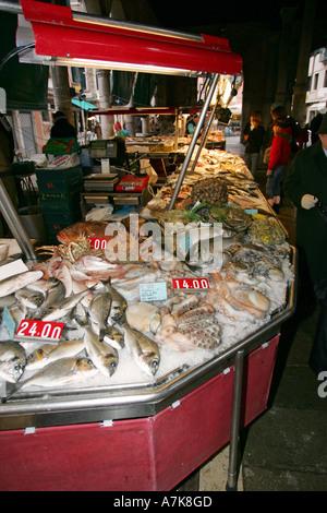 Famous Venice fish Market Prescaria near Rialto bridge and Grand Canal sells fresh local fish Italy Europe EU