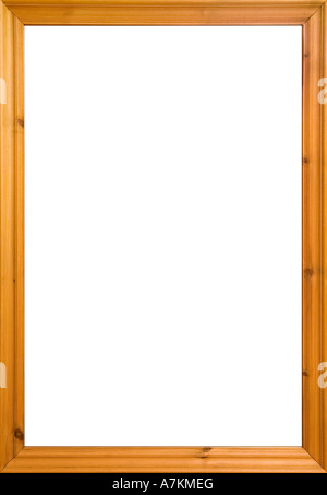 Wooden frame with white isolated area. Could also be used as a whiteboard. - Stock Photo