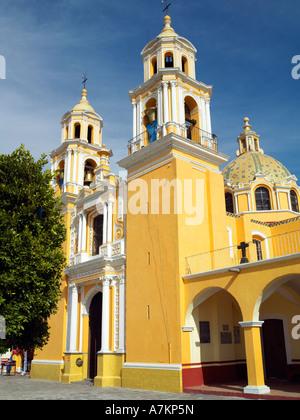 The church of Santuario de Nuestra Senora de los Remedios atop the pyramid of Tepanapa at Cholula - Stock Photo