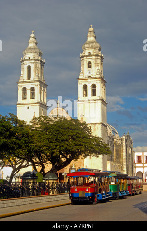 Tranvia parked by Parque Principal in Campeche - Stock Photo