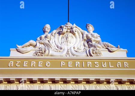 Elaborate adornments on a old Colonial building bordering Merida's Plaza Grande - Stock Photo