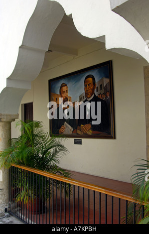 An historic oil painting in Yucatan University - Stock Photo