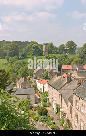Richmond North Yorkshire UK Culloden Tower and Cottages from Castle - Stock Photo
