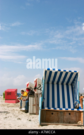 Beach chairs on the german northsea island Langeoog  - Stock Photo