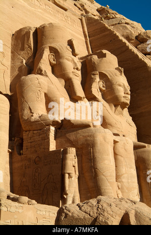 Colossal statues of Ramses II at Abu Simbel, Egypt - Stock Photo
