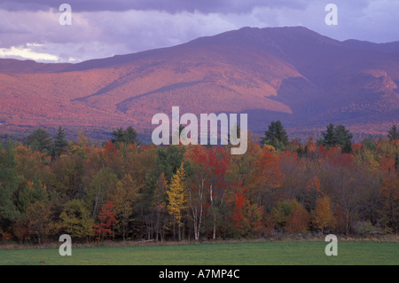 North America, US, NH, Fall Foliage. Mt. Lafayette as seen from Sugar Hill. - Stock Photo