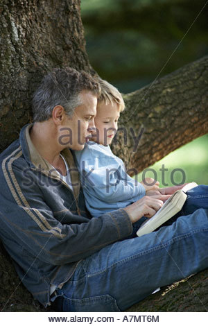 Father and son 3 5 sitting in tree reading book side view - Stock Photo