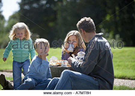 Two generation family having tea and sandwiches in park - Stock Photo