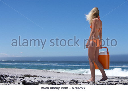 Young woman in orange bikini carrying cooler on beach looking at horizon over sea rear view - Stock Photo