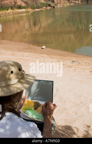 Woman plein air watercolor painting at the Colorado River in the Grand Canyon - Stock Photo