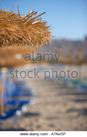Rows of palapa sunshades and sunloungers on sandy beach focus on foreground - Stock Photo