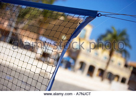 Sports net close up palm tree and building in background focus on foreground tilt - Stock Photo