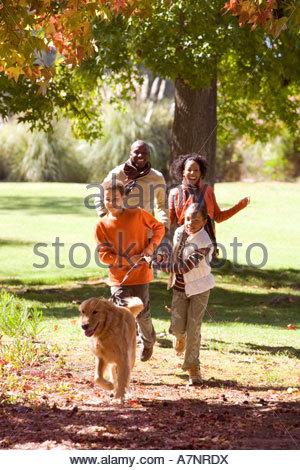 Family walking golden retriever in autumn park two children 7 9 holding dog lead smiling - Stock Photo