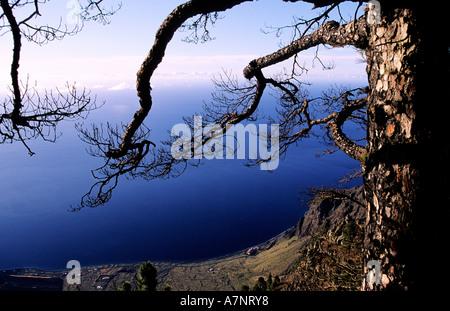 Spain, Canary Islands, El Hierro Island, view from the Mirador de Las Playas - Stock Photo