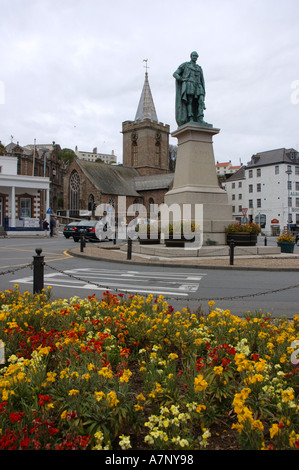Statue of Prince Albert in St Peter Port, Guernsey, Channel Islands - Stock Photo