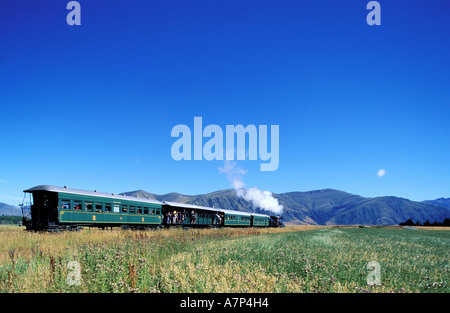 New Zealand, South Island, Kingstown Flyer steam train connects Kingstown to Fairlight near Queenstown - Stock Photo