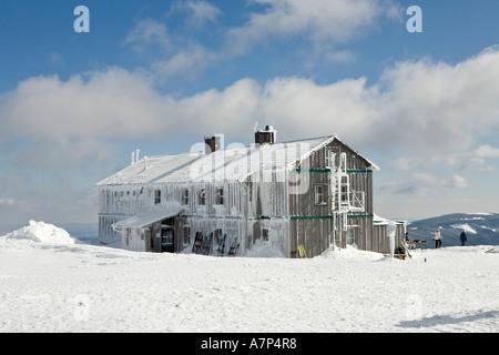 The Alois Günther mountain hut on top of the mountain Stuhleck Styria Austria - Stock Photo