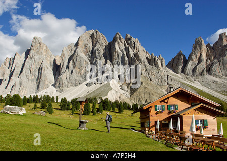 Gschnagenhardt alp and Geisler mountain range South Tyrol Italy - Stock Photo