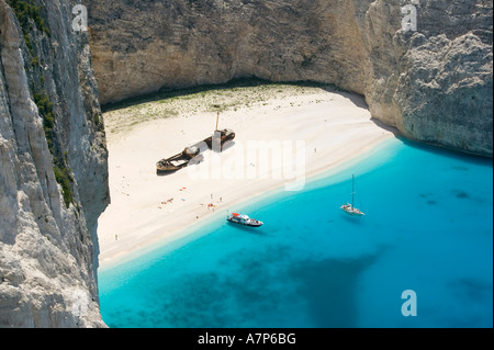 Shipwreck (Navagio) Beach, Zakynthos, Ionian Islands, Greece - Stock Photo