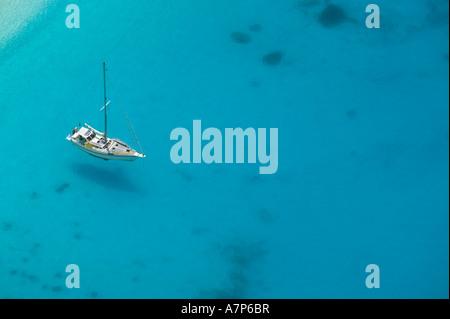 Boat off Shipwreck (Navagio) Beach, Zakynthos, Ionian Islands, Greece - Stock Photo
