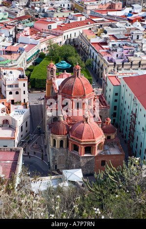 View of Guanajuato from El Pipila Monument, Guanajuato, Mexico - Stock Photo
