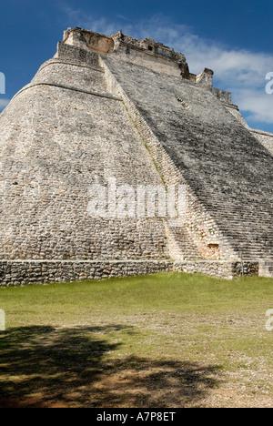 Piramide del Adivino pyramid of the magician Maya archeological site Uxmal Yucatan Mexico - Stock Photo