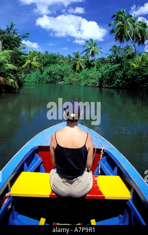 Dominica, Northern coast, West part, Porstmouth, sailing up the Indian river through the mangrove swamp on small - Stock Photo