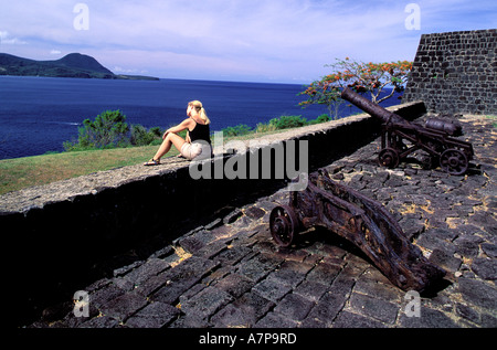 Dominica, Northern coast, West part, Portsmouth, Fort Shirley - Stock Photo