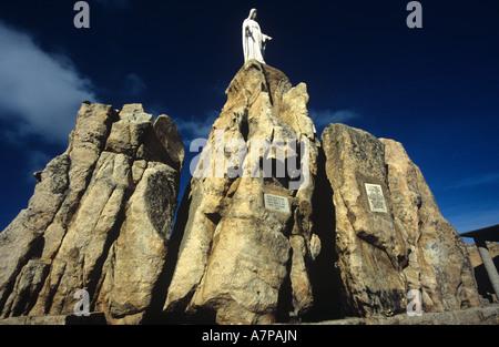 Statue of the Virgin Mary, Chapelle de Notre – Dame – de – la – Serra, Calvi, Corsica. Europe. - Stock Photo