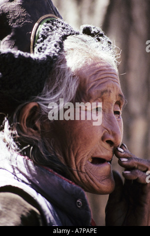 portrait of a woman at the market in Leh, India, Ladakh, Leh - Stock Photo