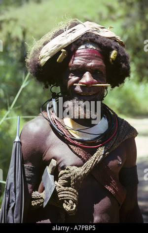 portrait of a man on the country road, Southern Highlands, Papua New Guinea, Tari - Stock Photo