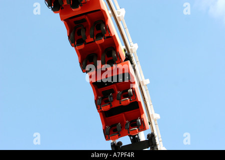 Roller Coaster going upside down - Stock Photo