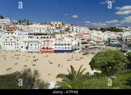 Portugal, the Algarve, Praia do Carvoeiro beach and village in spring - Stock Photo