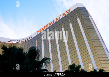 Mandalay Bay Casino and Hotel in Las Vegas Nevada with the gold flecked windows. - Stock Photo