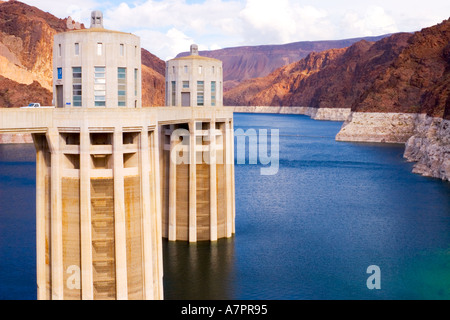 The Intake Towers of the Hoover Dam near Las Vegas that bridges the Black Canyon between Arizona and Nevada forming - Stock Photo