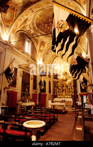 Italy, Tuscany, Siena, flags with the district's emblem for the Palio Contrade of the she-wolf