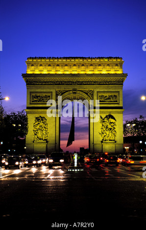 France, Paris, Arc de Triomphe (Triumphal Arch) on Champs Elysees avenue - Stock Photo
