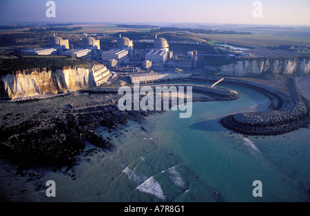 France, Seine Maritime, Paluel nuclear power plantl (aerial view) - Stock Photo