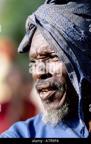 Mali, Dogon Country, old man in Tereli village - Stock Photo