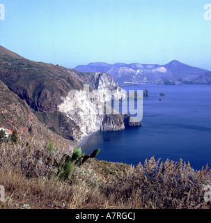 Rock formations at coast, Aeolian Islands, Sicily, Italy - Stock Photo