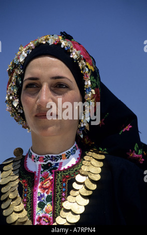 Greece, Dodecanese, Karpathos Island Olympos, traditional costume - Stock Photo